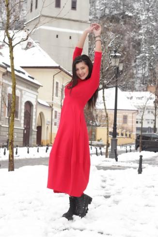 Rochie rosie lunga cu...