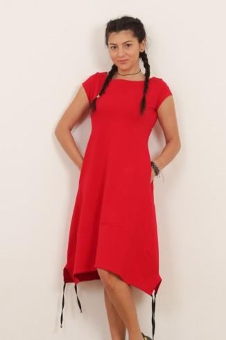 Rochie rosie cu maneca...
