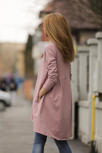 Bluza lunga roz pudra in...