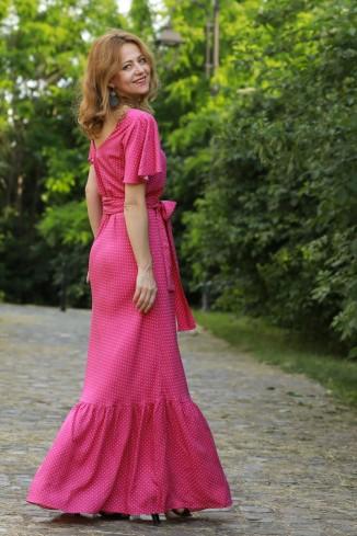 Rochie boho maxi roz cu...