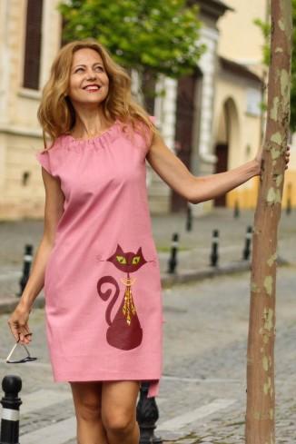 Rochie midi roz din in,...