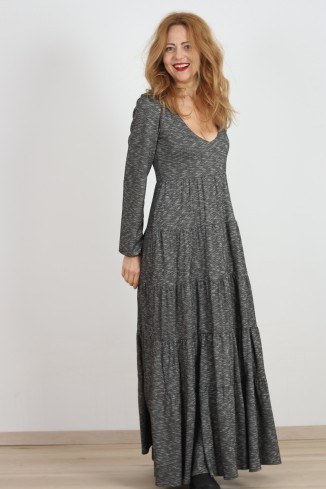 Rochie lunga gri/negru...
